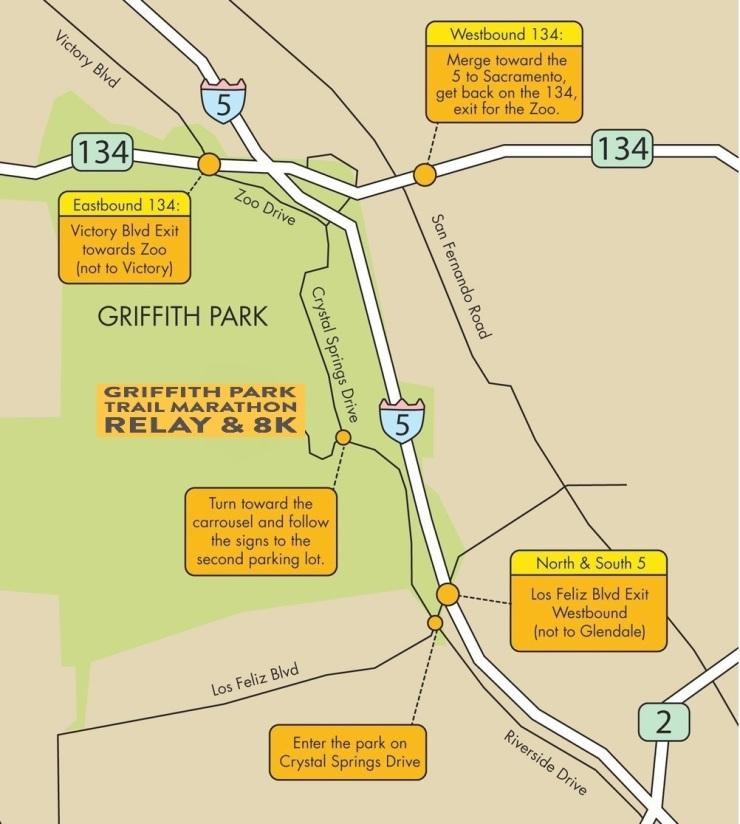 Griffith Park Los Angeles Map.Parking Directions Griffith Park Trail Marathon Relay